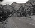 Location of parking area, start of trail at Petroglyph Canyon. ; ZION Museum and Archives Image 007 01 030 ; ZION 8175 (80124b0503a045498c853e5812169606).jpg