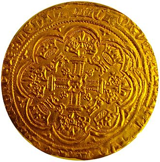 Noble (English coin) - Noble of Richard II, 1377, London mint, National Museum in Warsaw. Ornate cross with lis at ends, R in center, surrounded by crowns and lions, saltire cross mintmark