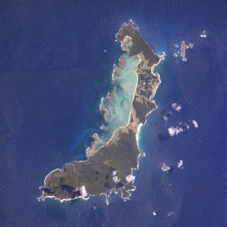 Lord Howe Island - Satellite image of the island; north is up.