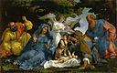 La Sainte Famille, avec trois anges, le petit saint Jean, sainte Élisabeth et saint Zacharie