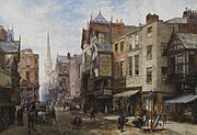 Louise Rayner Chester The Cross looking towards Watergate Street
