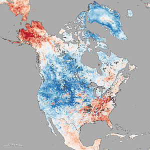 Extreme weather - Cold wave in continental North America from Dec-03 to Dec-10, 2013. Red color means above mean temperature; blue represents below normal temperature.