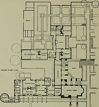 Folly Farm, Sulhamstead - House ground floor plan, 1921 (South front is to the right)