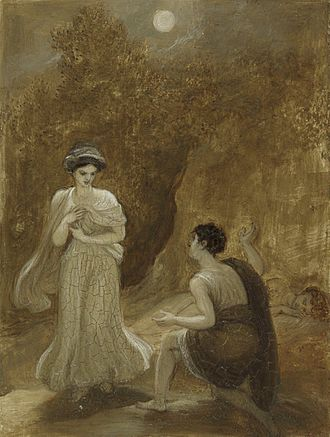 Georg Gottfried Gervinus thought Hermia lacking in filial piety and devoid of conscience for running away with Lysander, himself not a shining beacon of virtue (here seen wooing Helena). Lysander declaring his passion to Helena (Smirke, c. 1820-1825).jpg