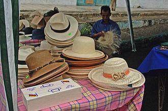 Panama hat - Hat stand in Montecristi, Ecuador.