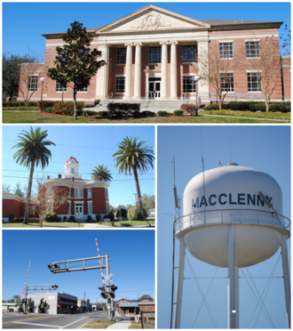 Macclenny, Florida - Top, left to right: Baker County Courthouse, Old Baker County Courthouse, railroad crossing in the historic district, water tower