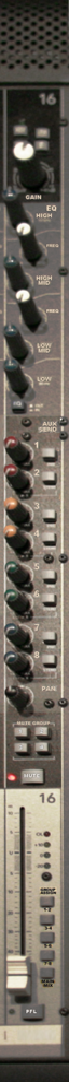 Channel input strip, Group, and Master section on Mackie ONYX 80