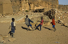 Malian Children Playing Football In A Dogon Village