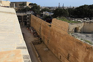 Ditch (fortification) - Ditch of Valletta, which was built between 1566 and the 1570s.