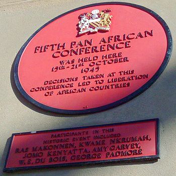 English: A plaque commemorating the Fifth Pan ...