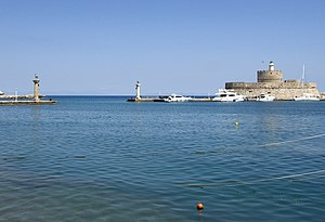 Colossus of Rhodes - Old harbour entrance from inner embankment; Fortress of St Nicholas on right