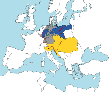 map of Europe, showing territory of predominantly German-speaking population, and Austria's multi-national, multi-linguistic territory