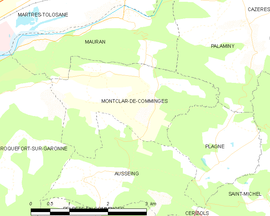 Mapa obce Montclar-de-Comminges