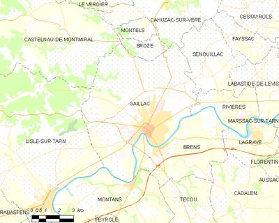 Carte De La Commune Gaillac Et Ses Proches Communes