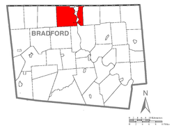 Map of Bradford County with Athens Township highlighted