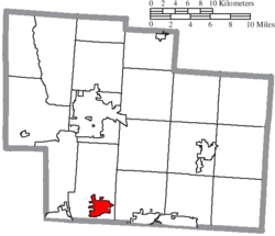 Location of Powell in Delaware County
