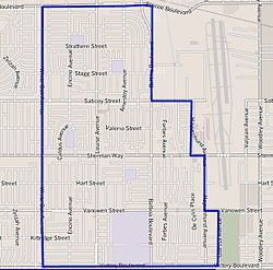 Lake Balboa neighborhood as mapped by the Los Angeles Times. Van Nuys Airport is on the right.
