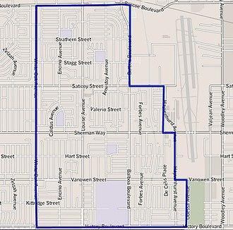 Lake Balboa, Los Angeles - Image: Map of Lake Balboa district, Los Angeles, California