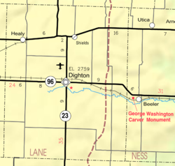 KDOT map of Lane County (legend)