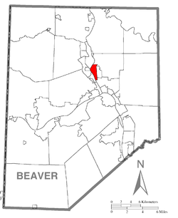 Location of New Brighton in Beaver County