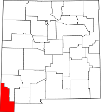 Map of New Mexico highlighting Hidalgo County