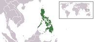 A map showing the location of the Philippines