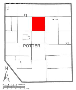 Allegany Township, Potter County, Pennsylvania - Image: Map of Potter County, Pennsylvania Highlighting Allegany Township