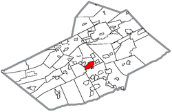 Pottsville's location in Schuylkill County