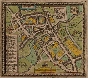Reading, Berkshire - The earliest map of Reading, published in 1611 by John Speed