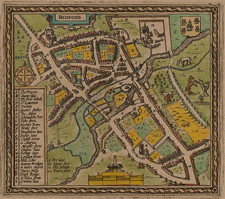 The earliest map of Reading, published in 1611 by John Speed.