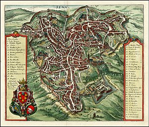 Timeline of Siena - Map of Siena, 1640