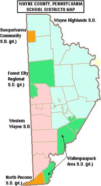 Map of Wayne County, Pennsylvania School Districts