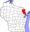 State map highlighting Marinette County