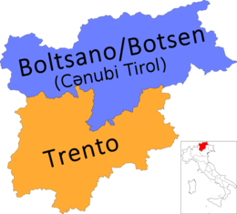 Map of region of Trentino-South Tyrol, Italy, with provinces-az.png