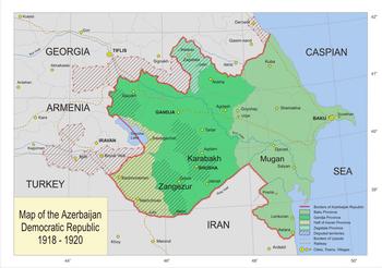 Map of the Democratic Republic of Azerbaijan.