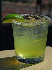 Margaritas are commonly served cocktails at many Tex-Mex restaurants.