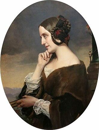 Henri Lehmann - Marie d'Agoult, 1843, by Henri Lehmann