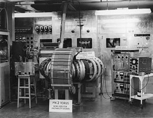 ZETA (fusion reactor) - To test the basic concept of stabilised pinch, additional magnets were added to the earlier Mark 2 Torus, seen here as the wires wound around the vacuum chamber.