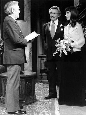 Douglass Watson - Watson, as Mackenzie Cory, marries Rachel Frame (Victoria Wyndham) on Another World, 1975.
