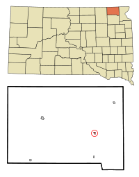 Marshall County South Dakota Incorporated and Unincorporated areas Lake City Highlighted.svg