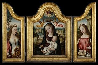 Triptych Madonna and Child with Saints Catherine and Barbara