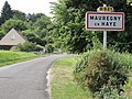 Mauregny-en-Haye (Aisne) city limit sign.JPG