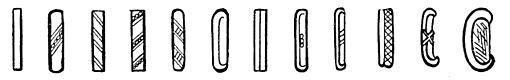 Fig. 41. Examples of bar and dot numeral 5, showing the ornamentation which the bar underwent without affecting its numerical value.