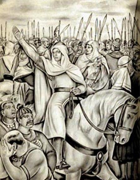 محمد بن القاسم الثقفي - فاتح السند - وهو يقود جيشه إلى المعركة