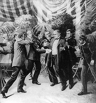 Assassination of William McKinley - Leon Czolgosz shoots President McKinley with a revolver concealed under a cloth rag. Clipping of a wash drawing by T. Dart Walker.