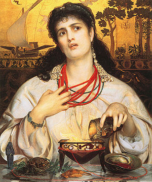 Medea - Medea by Anthony Frederick Augustus Sandys (painted 1866-68); its rejection for exhibition at the Royal Academy in 1868 caused a storm of protest