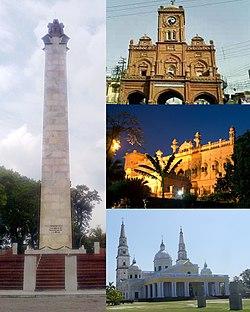 In senso orario dall'alto: Memoriale del martire, Torre dell'orologio di Meerut, Castello di Mustafa, Basilica di Nostra Signora delle Grazie
