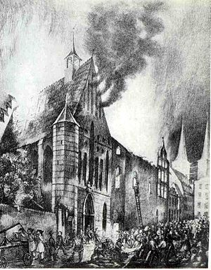 St. Anne's Museum Quarter, Lübeck - The burning of the St.-Annen-Kloster in 1843