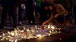 Memorial candles at Place de la Bourse after attack.jpg