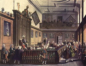 High Court of Chivalry - A session of the Court of Chivalry being held in the College of Arms, depicted in 1809.